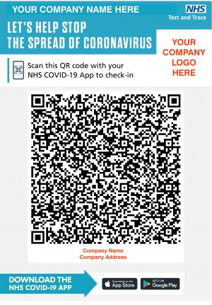 QR Code Test & Trace Sign